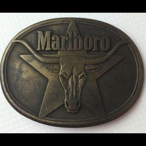 Vintage 1987 Marlboro Solid Brass Belt Buckle